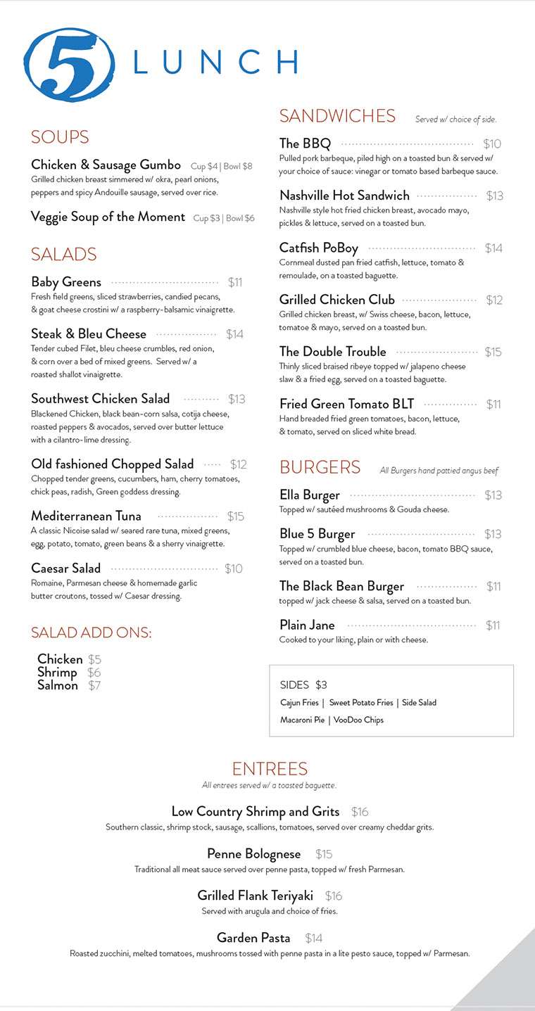Lunch Menu Aug 2017